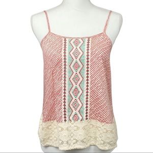 Red Camel Striped Lace Tank Top - Small
